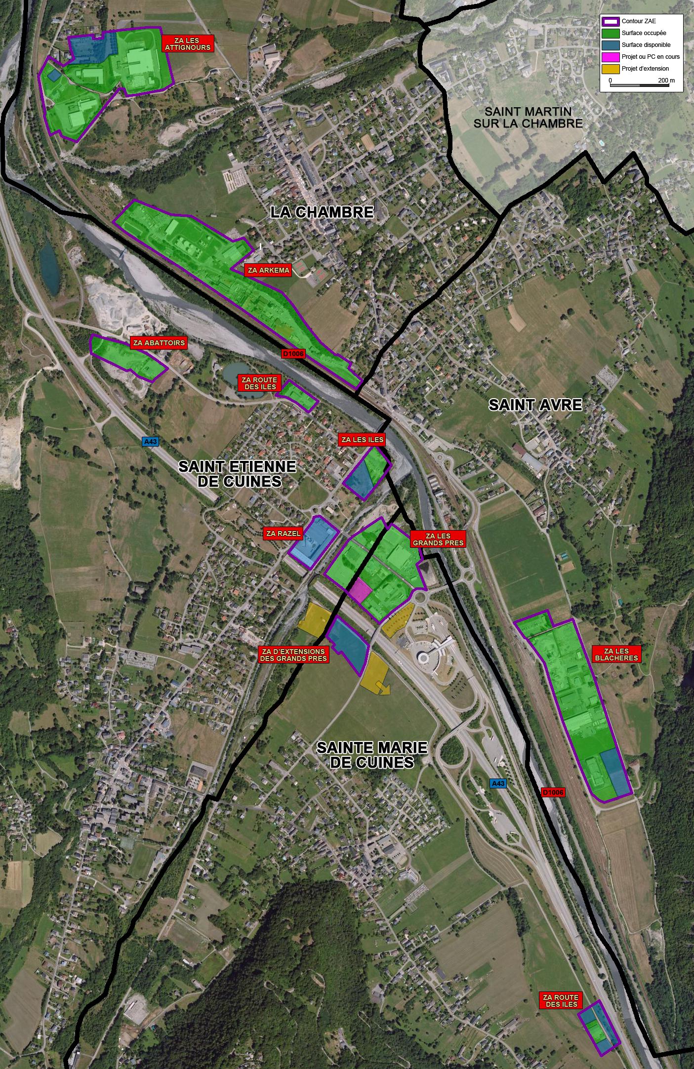 plan ZAE La Chambre, Saint Avre, Saint Etienne de Cuines et Sainte Marie de Cuines